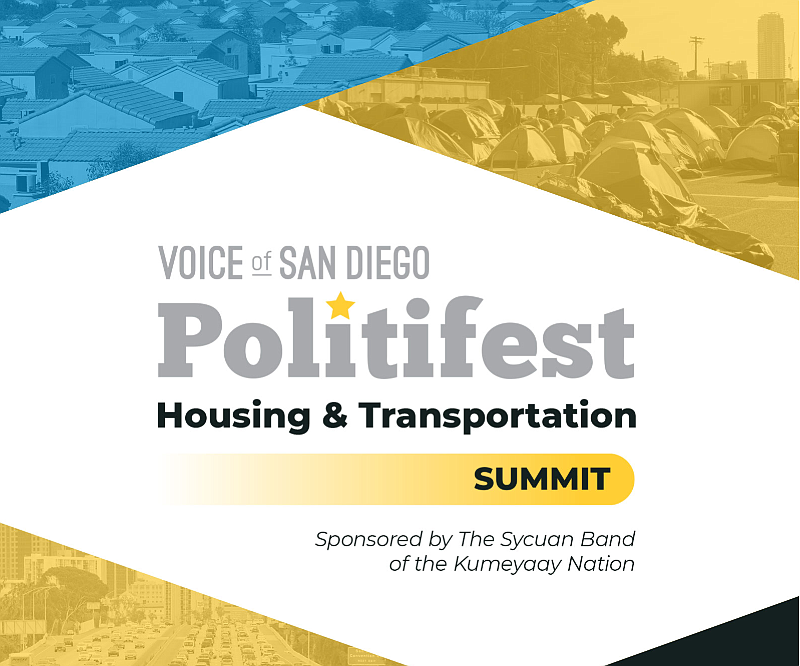 Cover Art from Voice of San Diego's Public Affairs Summit Politfest is displa...