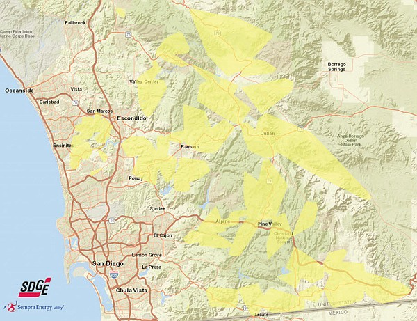 This undated map shows areas in San Diego County that may...