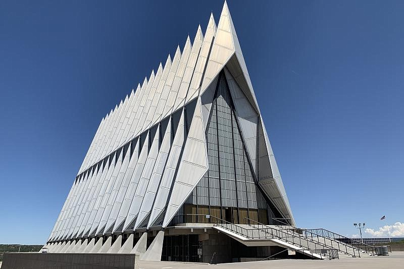 The Chapel at the United States Air Force Academy, pictured in this undated p...