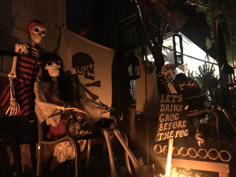 A pirate-themed Halloween decoration at a home on Peppertree Way in the Bress...