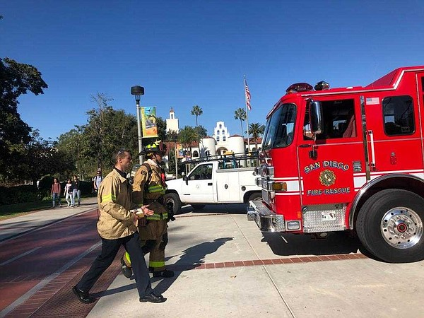 A San Diego Fire-Rescue Truck on the San Diego State Univ...