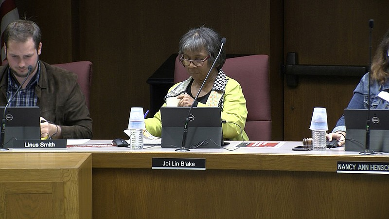 Palomar College President Joi Lin Blake gets ready for a board meeting, Nov. ...