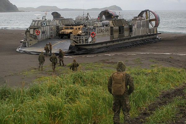 An LCAC, a hover-craft the Navy uses to transport materia...
