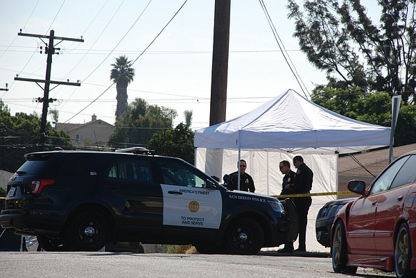 San Diego police at the scene of a murder-suicide where t...