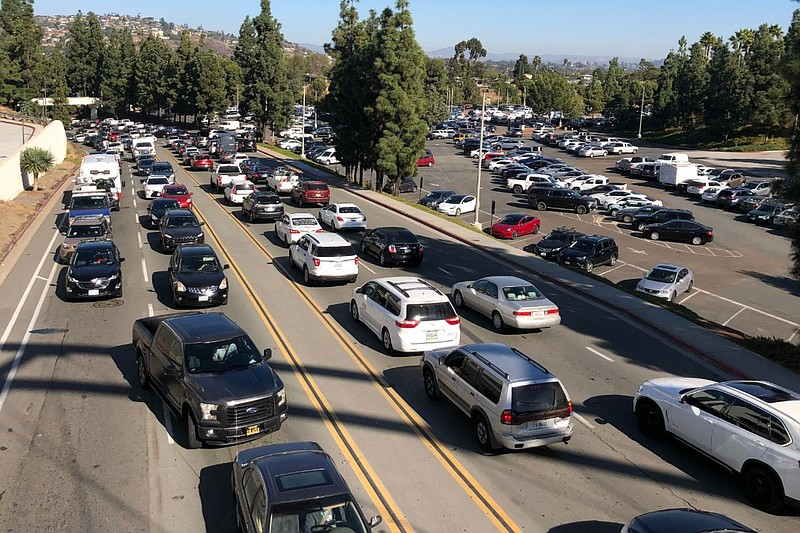 Traffic on College Avenue near San Diego State University in this undated photo.