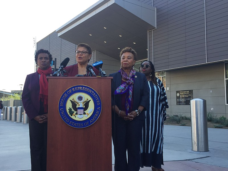 Members of the Congressional Black Caucus speak at the San Ysidro Port of Ent...
