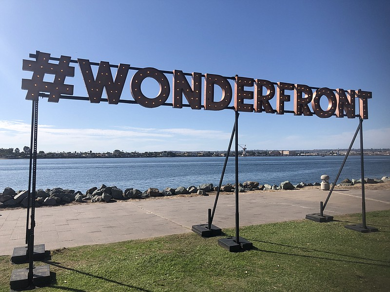 Wonderfront light-up sign at the Embarcadero in downtown San Diego on Nov. 22...
