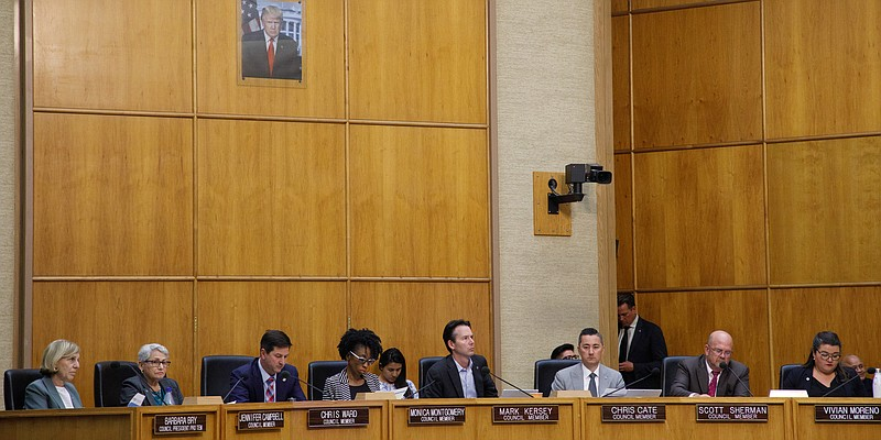 The San Diego City Council is shown at a meeting on Nov. 19, 2019.