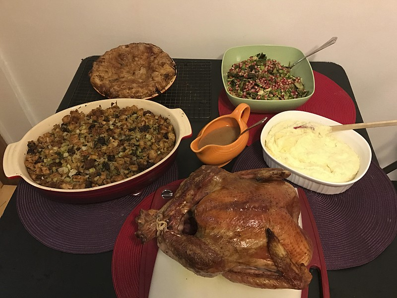 This Oct. 14, 2016, photo shows food from a Thanksgiving dinner from Martha &...