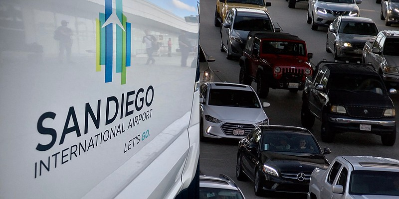 A truck parked outside the San Diego International Airport and traffic, Nov. ...