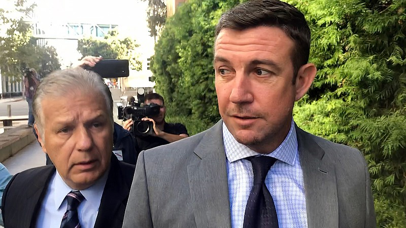 Rep. Duncan Hunter, R-Alpine, heading into court, Oct. 7, 2019.