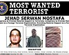 A wanted poster of Jehad Serwan Mostafa release...