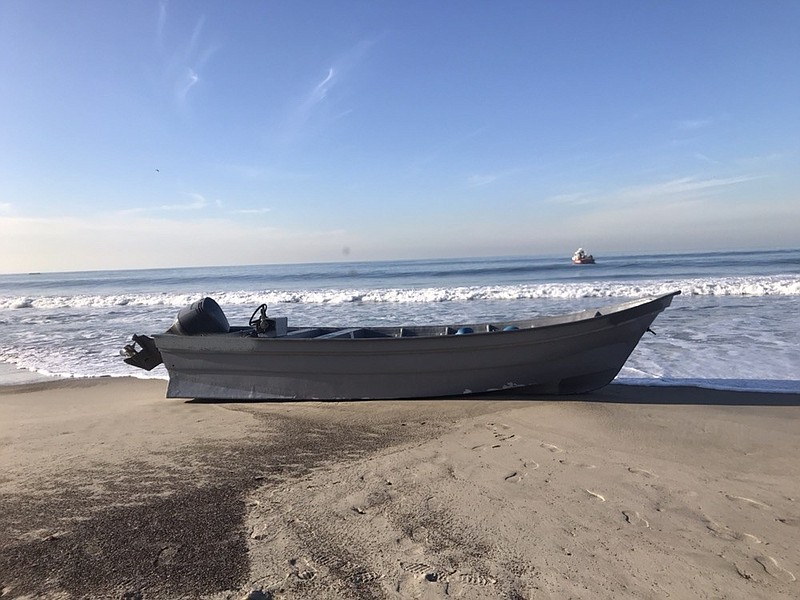 A panga boat intercepted by Border Patrol agents off the coast of Point Loma ...