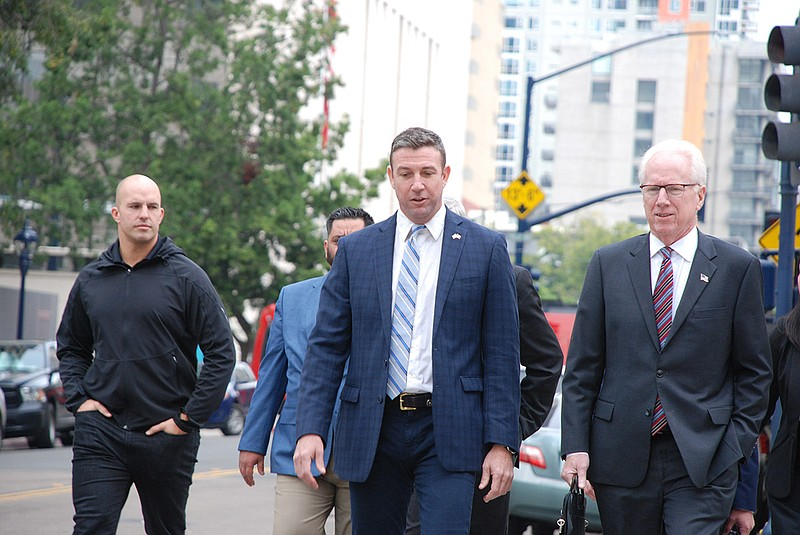 Rep. Duncan Hunter arrives at the federal courthouse in downtown San Diego, D...