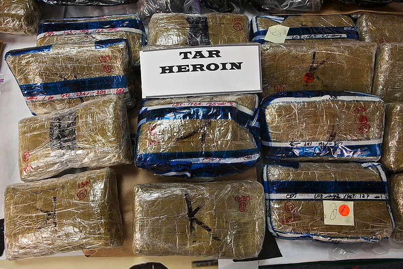 Mexican black tar heroin seized during a police raid in Ventura County, March...