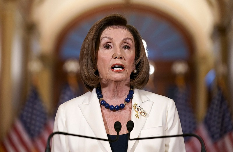 Speaker of the House Nancy Pelosi, D-Calif., makes a statement at the Capitol...