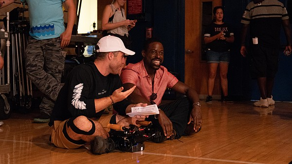 Trey Edward Shults directs Sterling K. Brown on the set o...