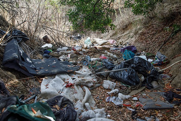 Discarded items left from an encampment in Florida Canyon...