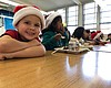 Students eat lunch at Edison Elementary school ...