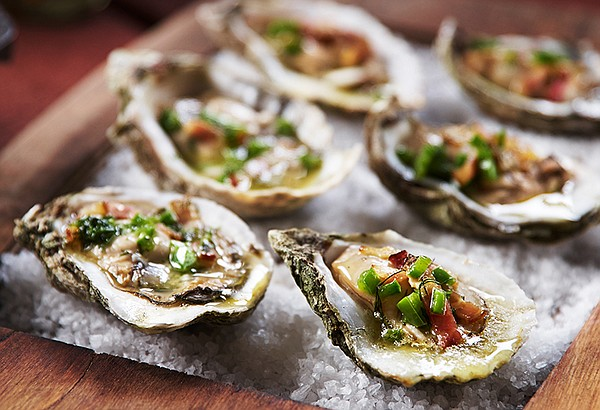 Pictured: smoke-roasted Florida oysters and clams, invigo...