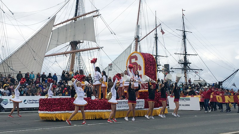 USC Song Girls on a float at the 2019 Holiday Bowl Parade in downtown San Die...