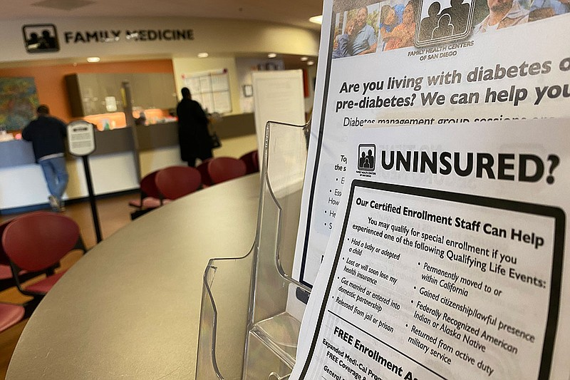 A flyer at the Family Health Centers of San Diego clinic in southeast San Die...