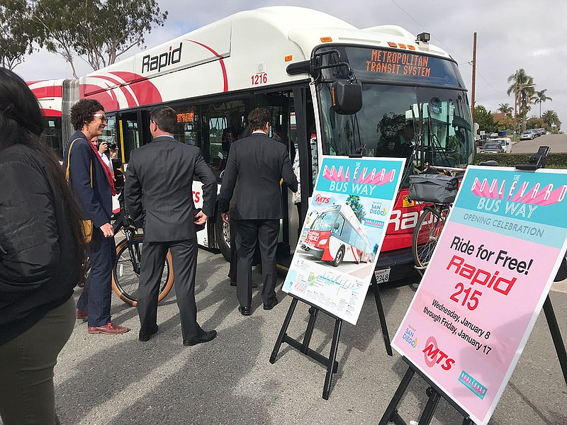 A MTS bus is parked during the dedication of a new bus lane along El Cajon Bo...