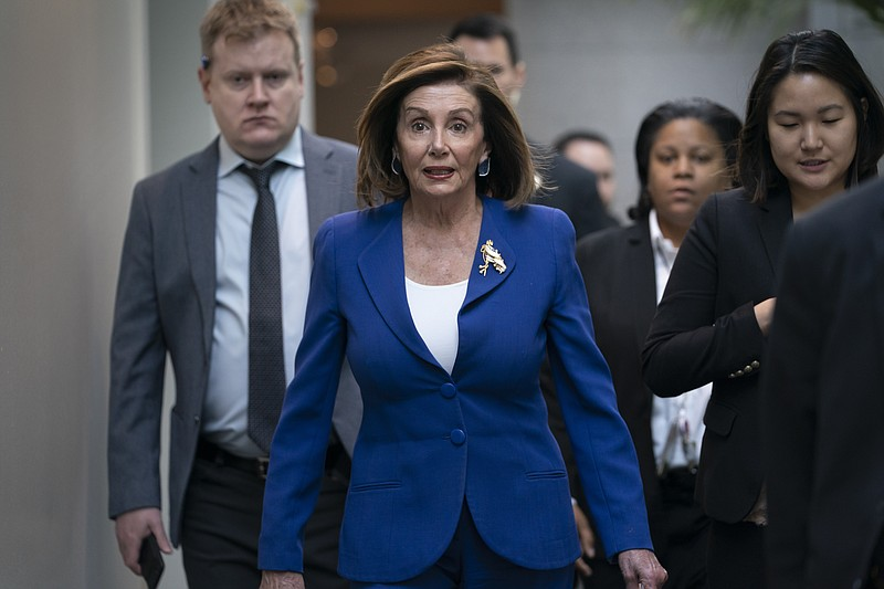 Speaker of the House Nancy Pelosi, D-Calif., arrives to meet with other House...