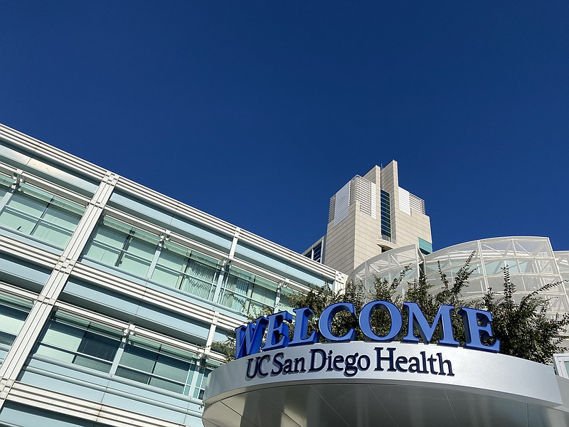 A welcome sign greets visitors and patients at UC San Diego Health medical fa...