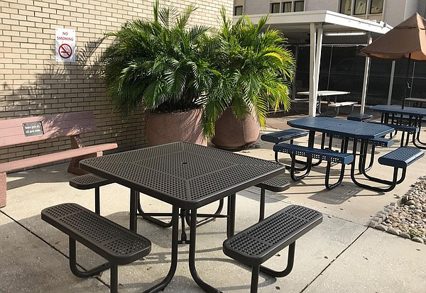 Formerly a designated smoking area, this patio outside th...