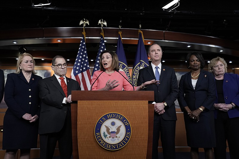 Speaker of the House Nancy Pelosi, D-Calif., meets with reporters to announce...