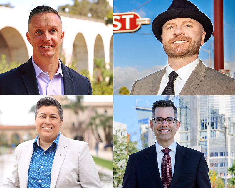 Clockwise from upper left: San Diego City Council District 3 candidates Chris...