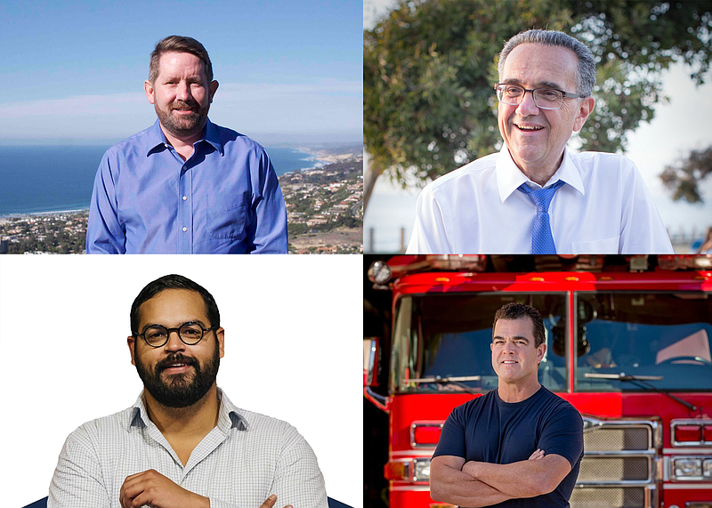 Clockwise from upper left: San Diego City Council District 1 candidates Will ...