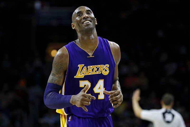 In this Dec. 1, 2015 file photo Los Angeles Lakers' Kobe Bryant smiles as he ...