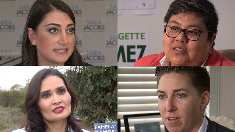 Candidates for the 53rd Congressional District include Sara Jacobs (D), Georg...