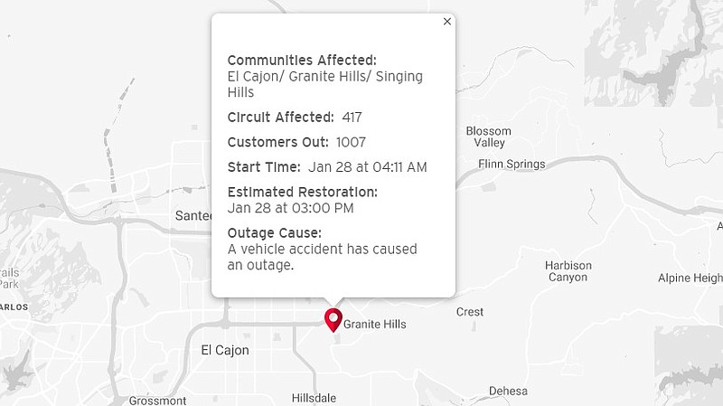 The location of a power outage in El Cajon is shown in an SDG&E map, Jan. 28,...