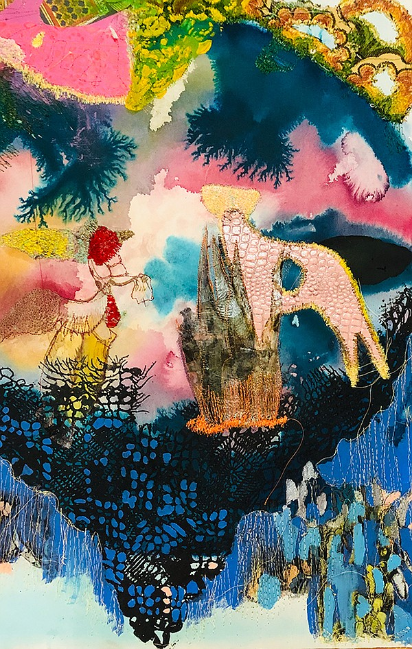 Mixed media collage and embroidery work by Griselda Rosas