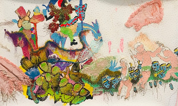 Mixed media, collage and embroidery work by Griselda Rosas