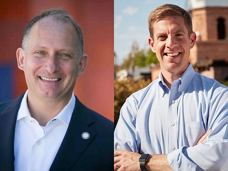 Businessman Brian Maryott (left) and Rep. Mike Levin in undated photos.