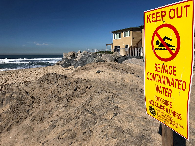 Pollution warning sign posted in Imperial Beach near the southern end of Seac...