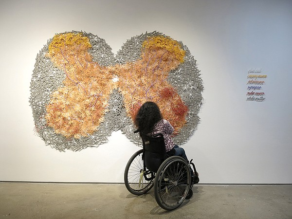 Artist Bhavna Mehta is pictured with her new installation...