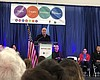 Andre Agassi speaks at the celebration of the o...