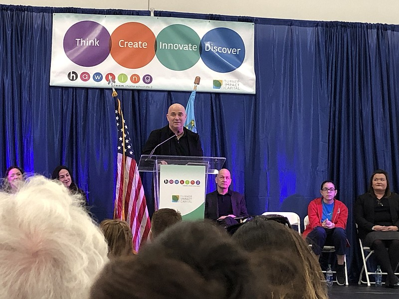 Andre Agassi speaks at the celebration of the official opening of the Hawking...