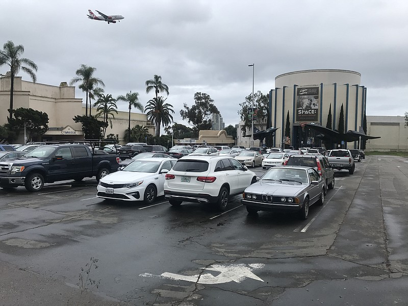 The Palisades parking lot in Balboa Park is seen here, Feb. 10, 2020.