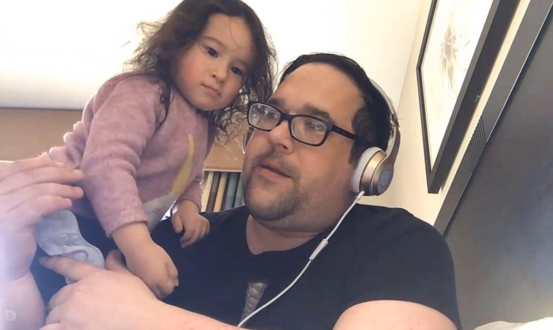 Frank Wucinski and his daughter Annabel talk via Skype inside a quarantine at...