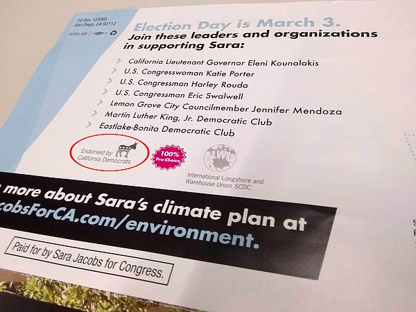 Sara Jacobs mailer with the language that the local Democ...
