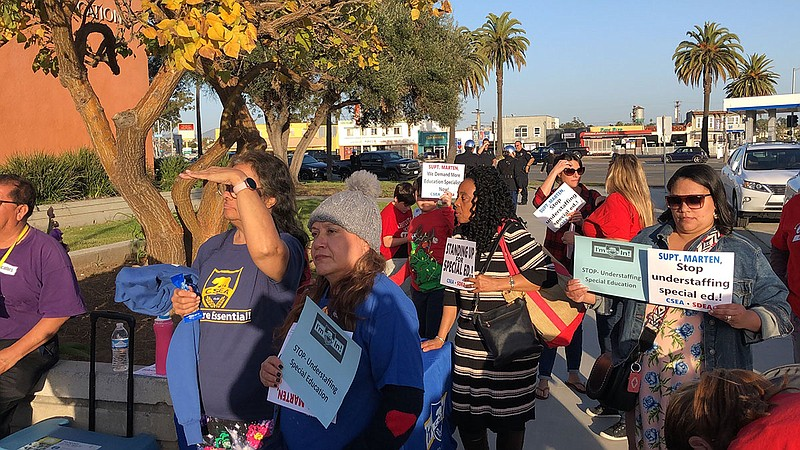 Special education teachers and support staff protest at the San Diego Unified...