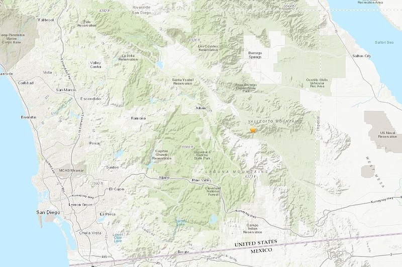 A map showing the epicenter of a 3.1-magnitude quake near Julian on Feb. 12, ...