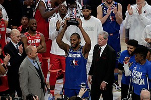 Photo for Kawhi Leonard Wins First Kobe Bryant All-Star MVP Award