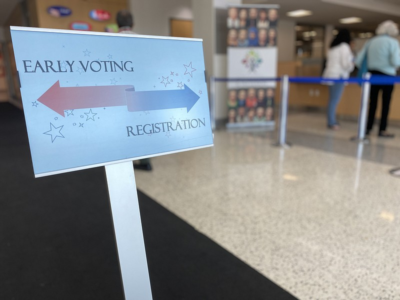 An early voting and registration sign is shown inside the San Diego Registrar...